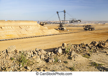 A giant Bucket Wheel Excavator at work in an endless lignite pit mine