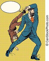 Giant businessman throws competitor pop art retro style. Big...