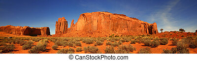 Giant Butte Panorama in Monument Valley, Arizona - Panoramic...