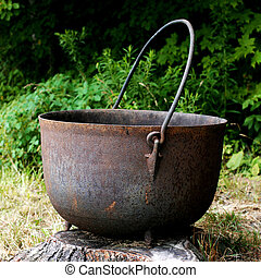 Giant Rustic Cast Iron Kettle