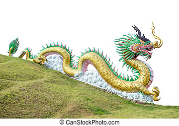 Giant chinese style dragon statue isolated on white background