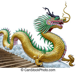 Giant chinese style dragon statue on white background