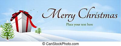 Giant Christmas gift banner background
