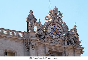 Giant clocks on the facade of St. Peter Basilica in Vatican...