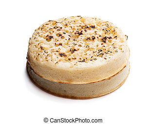 Giant crumpets isolated on white background
