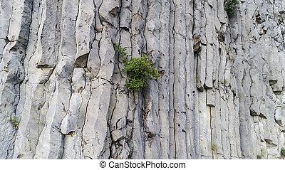Giant dangerous vertical stones in a Hegyestu, Hungary. Aerial view