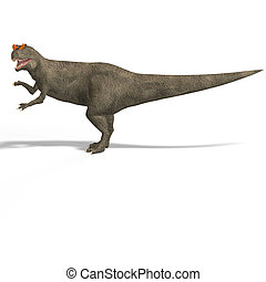 Giant Dinosaur Allosaurus With Clipping Path over White