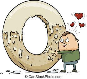 Giant Doughnut Love - A cartoon man hugs a giant, glazed...
