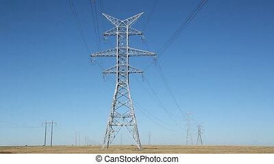 Giant electrical pylons.