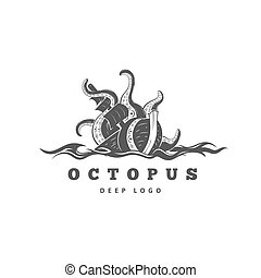 Giant evil kraken logo, silhouette octopus sea monster with tentacles