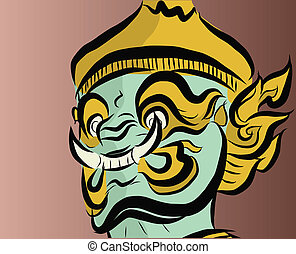 Giant face in Thailand style - Vector of giant face in Thai...
