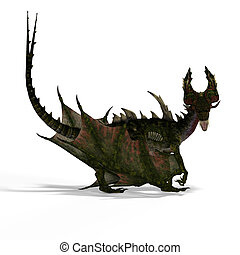 Giant fantasy dragon with - huge fantasy dragon with wings....