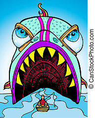 giant fish cartoon image of a man about to be swallowed.