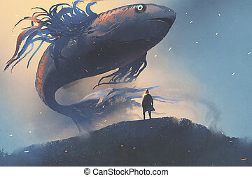 giant fish floating in the sky above man in black cloak,...
