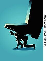 Giant foot trampling a businessman - Business concept...
