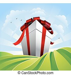 Giant gift in fields - A huge gift. Conceptual illustration...