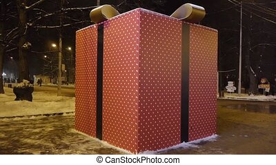 Giant gift package on street