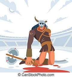 Giant Gladiator lost in gladiatorial combat. Vector isolated illustration. Flat cartoon style