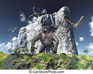 Giant gorilla and Quetzalcoatlus - Computer generated 3D ...