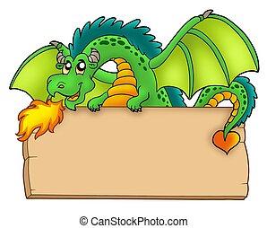 Giant green dragon holding board - color illustration.