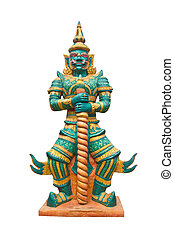 Giant In Thai Public Temple Standing On White Background