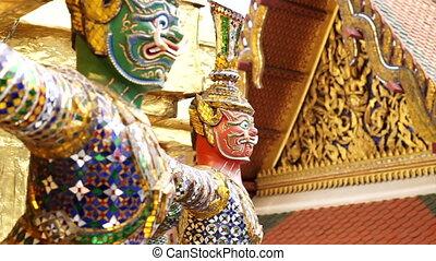 Giant landmark Wat Phra Kaew - Giant statue around Wat Phra...