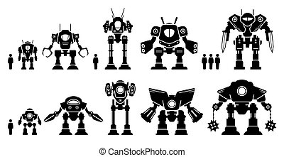 Giant mecha robot or battle bot set collection. - Vector ...