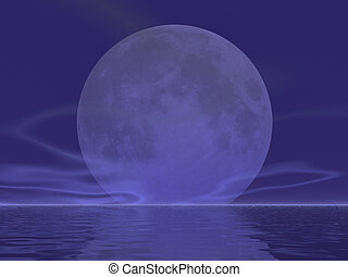 Giant Moon Rising - Enormous moon rising over the sea