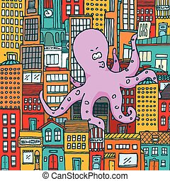 Giant octopus attack and take over a colorful city