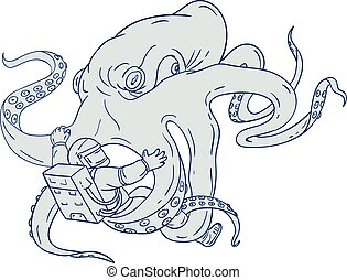 Giant Octopus Fighting Astronaut Drawing - Drawing sketch...