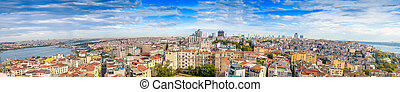 Giant panoramic view of Istanbul. Aerial city view on a beautifu