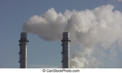 Giant pipes. - A closeup of two giant steam pipes. Portlands...