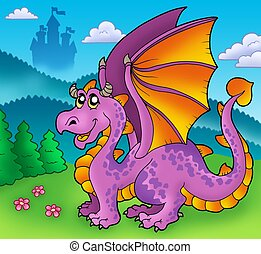 Giant purple dragon with old castle - color illustration.