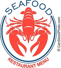 Giant red lobster icon in blue oval frame