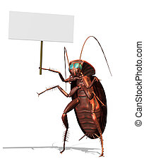 Giant Roach with a Blank Sign - 3D render of a giant...