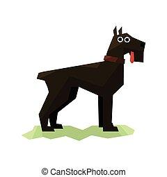 Giant Schnauzer Black Dog Bright Color Simplified Geometric...