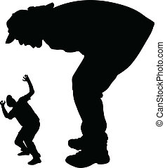Giant Shout - A silhouette of a giant man shouting and...