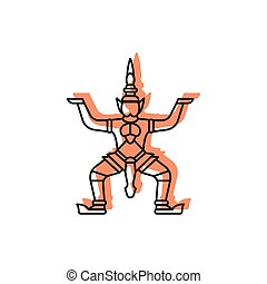 Giant statue icon, doodle style - Giant statue icon. Doodle...