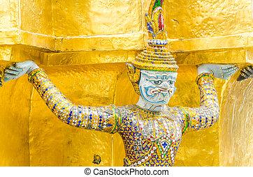 Giant statue in emerald temple bangkok thailand