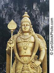 Giant statue of Lord Murugan at Batu Caves temple in Kuala Lumpur, Malaysia.