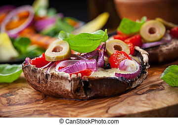 Giant stuffed Portobello mushrooms - Giant Portobello...