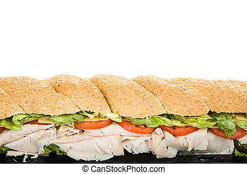 Giant Sub Sandwich Border - Closeup view of a giant three...