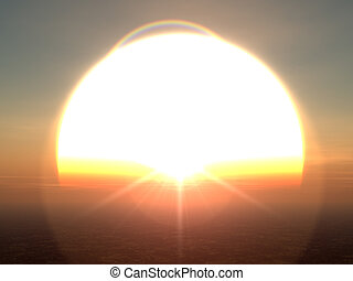 Giant Sun - 3D rendered Illustration. A Oversized Sunset.