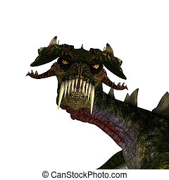giant terrifying dragon with wings and horns attacks - 3D...