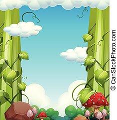 Giant Tree and Mushroom Landscape