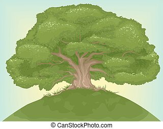 Giant Tree - Illustration of a Giant Tree on Top of a Hill
