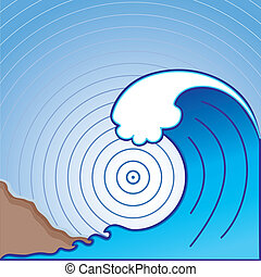 Giant Tsunami Wave - Giant tsunami ocean wave, landslide,...