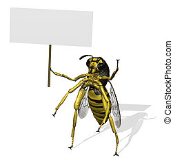 Giant Wasp with Blank Sign