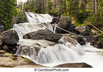 Giant waterfall in Slovak High Tatras