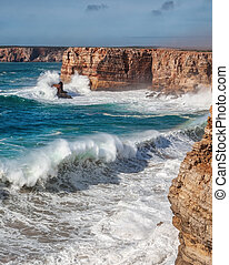Giant waves during a storm in Sagres, Costa Vicentina. - ...